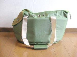 画像1: ニチドウ ペット用キャリーバッグ グリーン 3kgまでの小型の犬猫用 (1)
