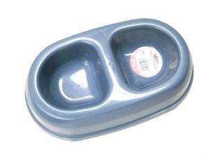 画像1: MADE IN U.S.A(米国製) 東京ペット ペットダイナーダブルMサイズ ペット用食器 ブルーグレー (1)
